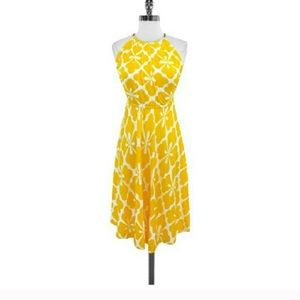 DVF Yellow Silk Halter Dress